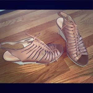 Tan lace-up wedge sandals